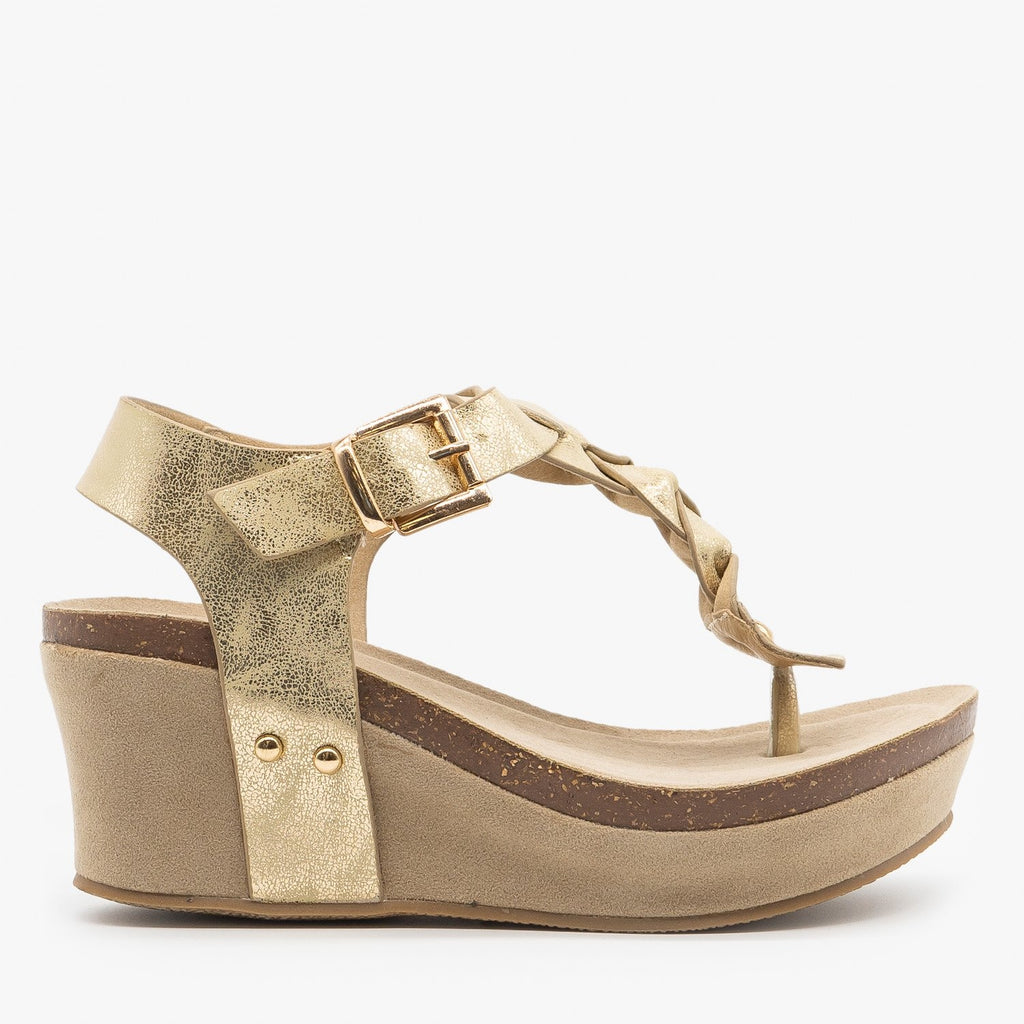 Womens Braided Buckle Wedges - Nature Breeze - Light Gold / 5