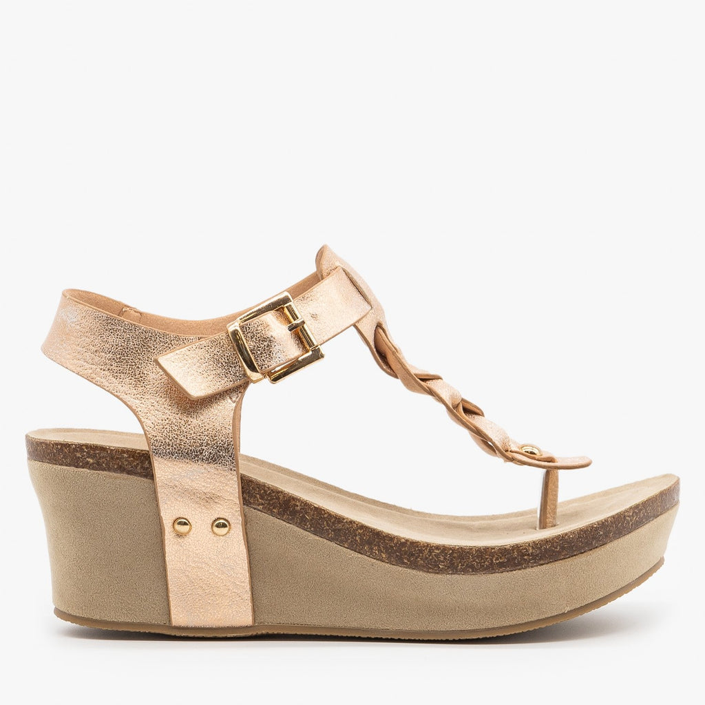 Womens Braided Buckle Wedges - Nature Breeze - Rose Gold / 5