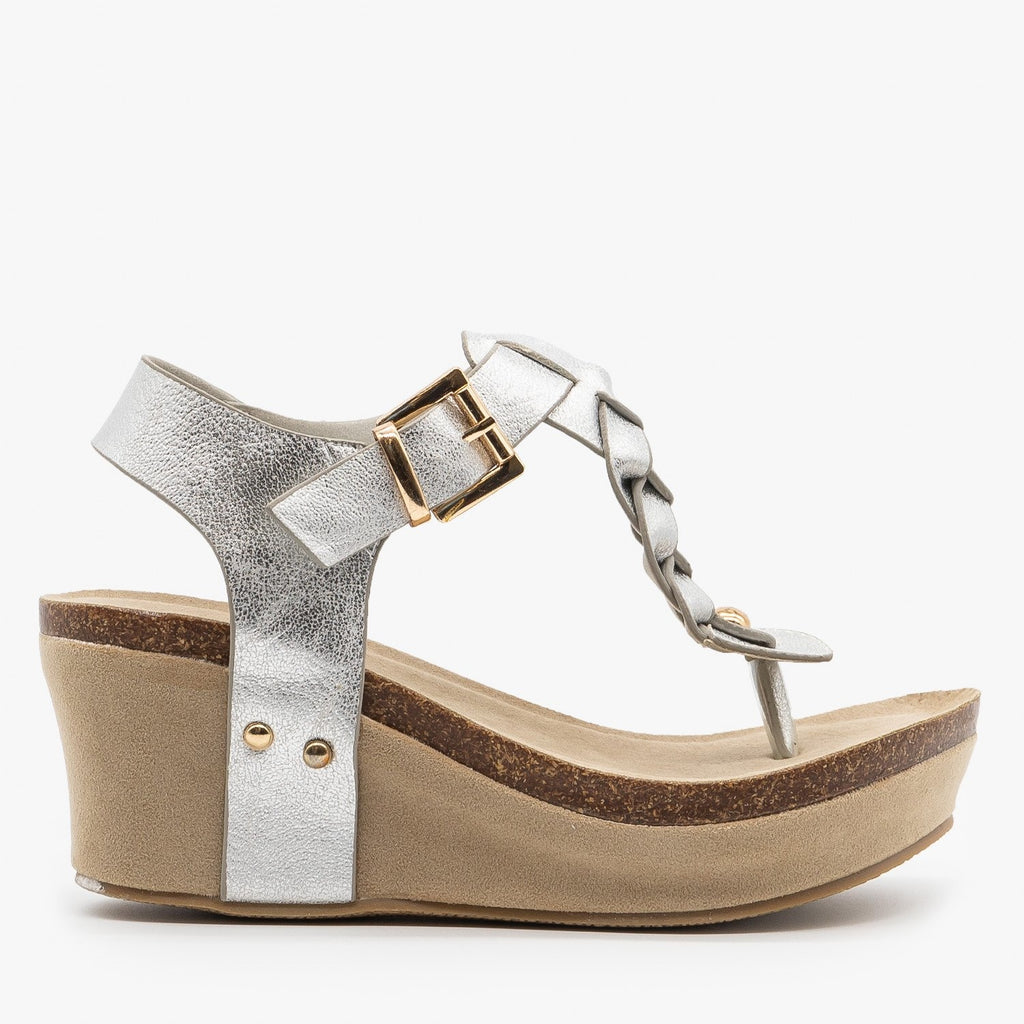 Womens Braided Buckle Wedges - Nature Breeze - Silver / 5
