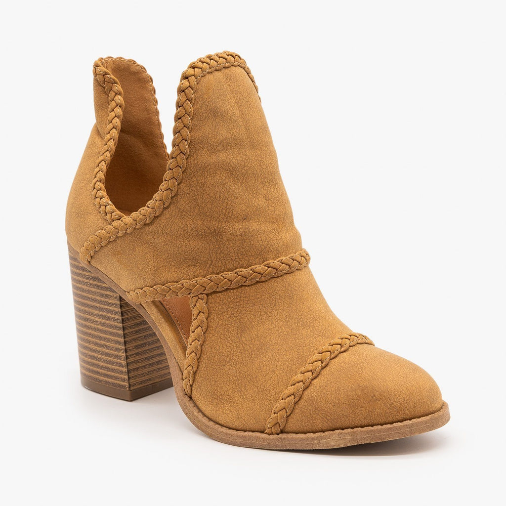 Womens Braided Trim Cutout Booties - Mata - Tan / 5