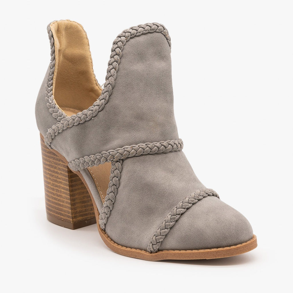 Womens Braided Trim Cutout Booties - Mata - Gray / 5