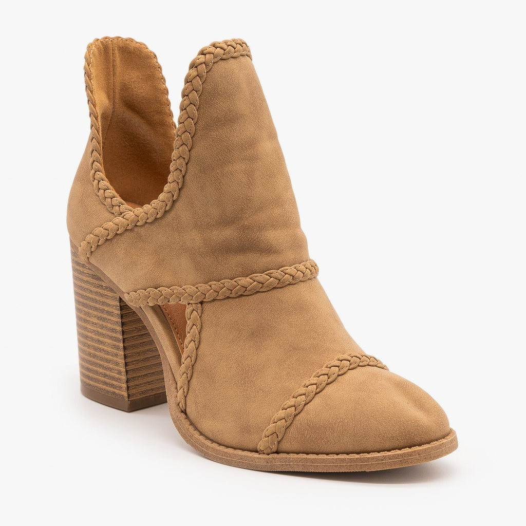 Womens Braided Trim Cutout Booties - Mata - Taupe / 5