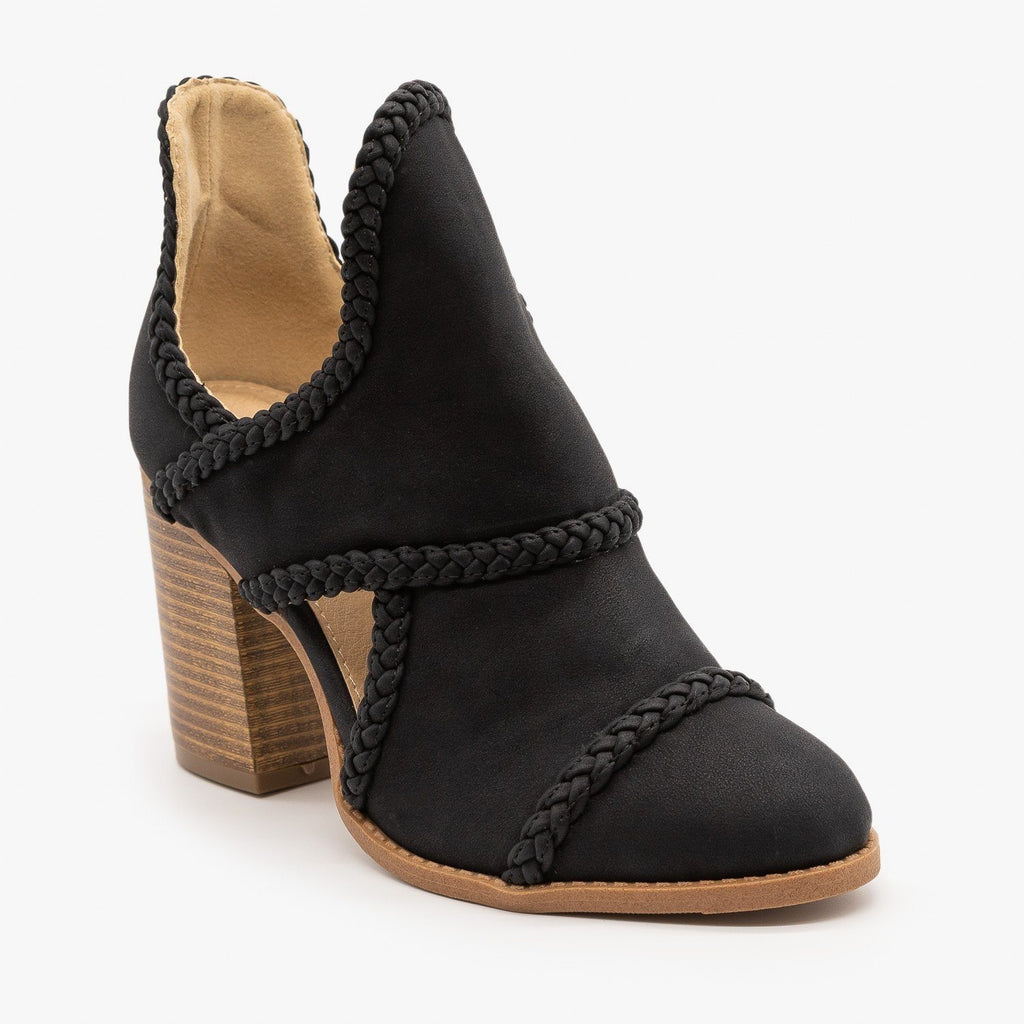 Womens Braided Trim Cutout Booties - Mata - Black / 5