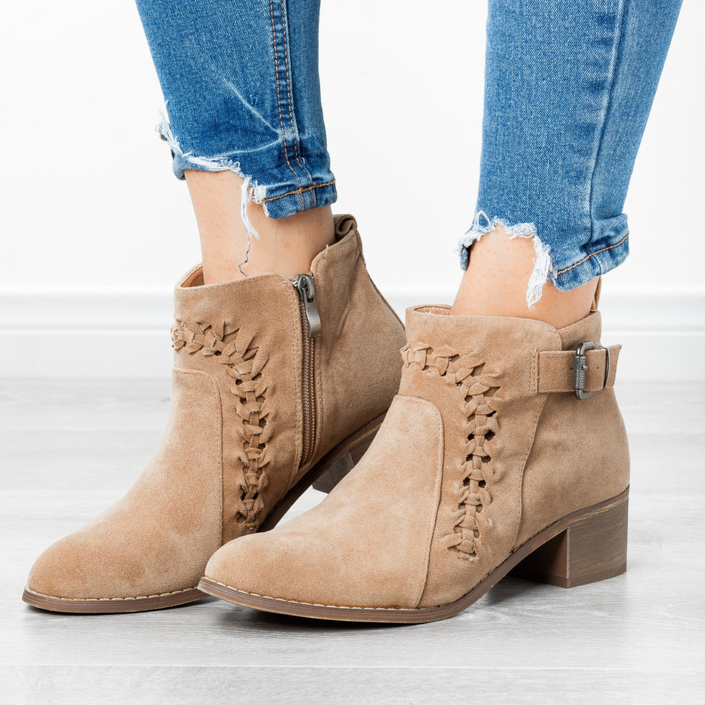 Womens Braided Western Ankle Booties - AMS Shoes - Taupe / 5