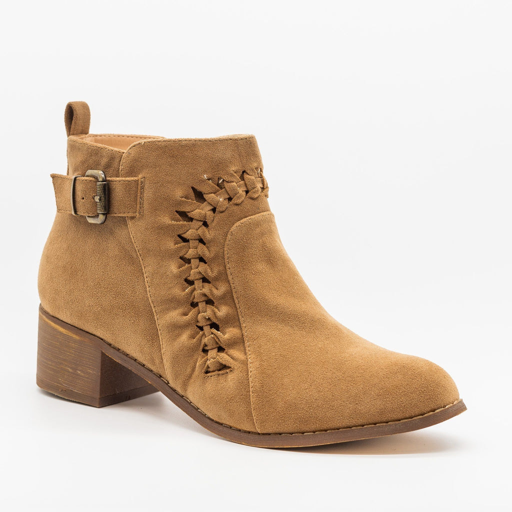Womens Braided Western Ankle Booties - AMS Shoes - Tan / 5