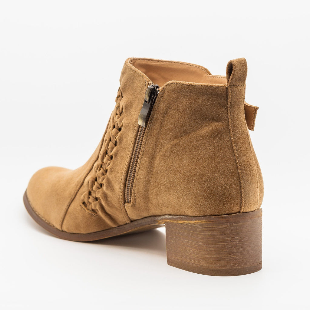 Womens Braided Western Ankle Booties - AMS Shoes