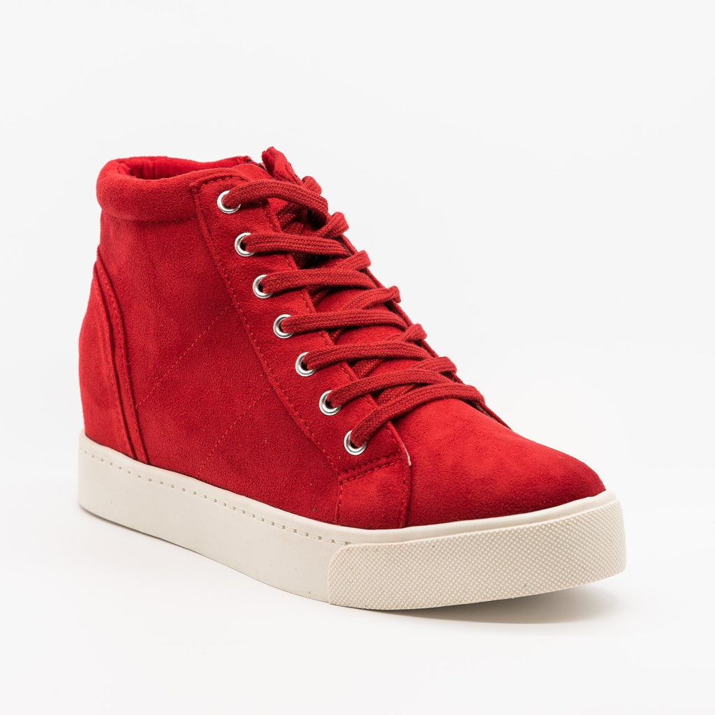 Womens Bright and Bold Sneaker Wedges - Soda Shoes - Cherry / 5