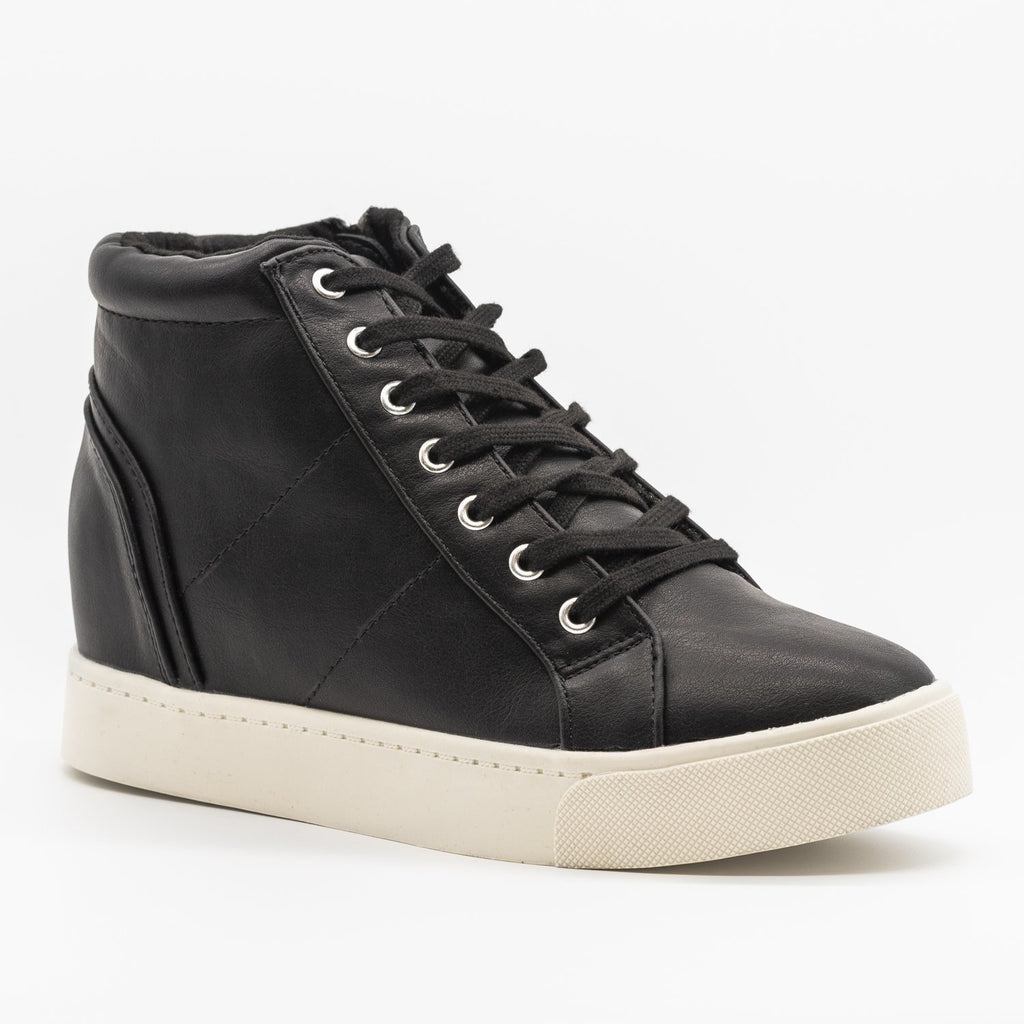 Womens Bright and Bold Sneaker Wedges - Soda Shoes - Black / 5