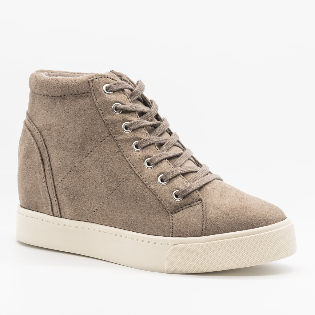 Womens Bright and Bold Sneaker Wedges - Soda Shoes - Soft Gray / 5