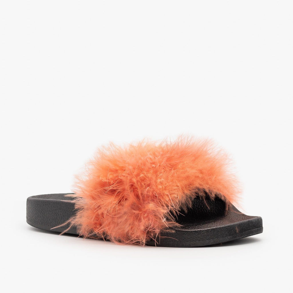 Womens Bright Feather Boa Slides - Refresh - Coral / 5