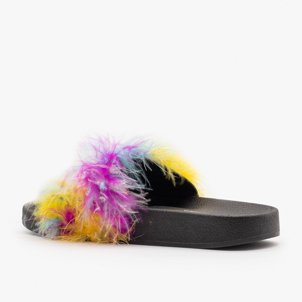 Womens Bright Feather Boa Slides - Refresh
