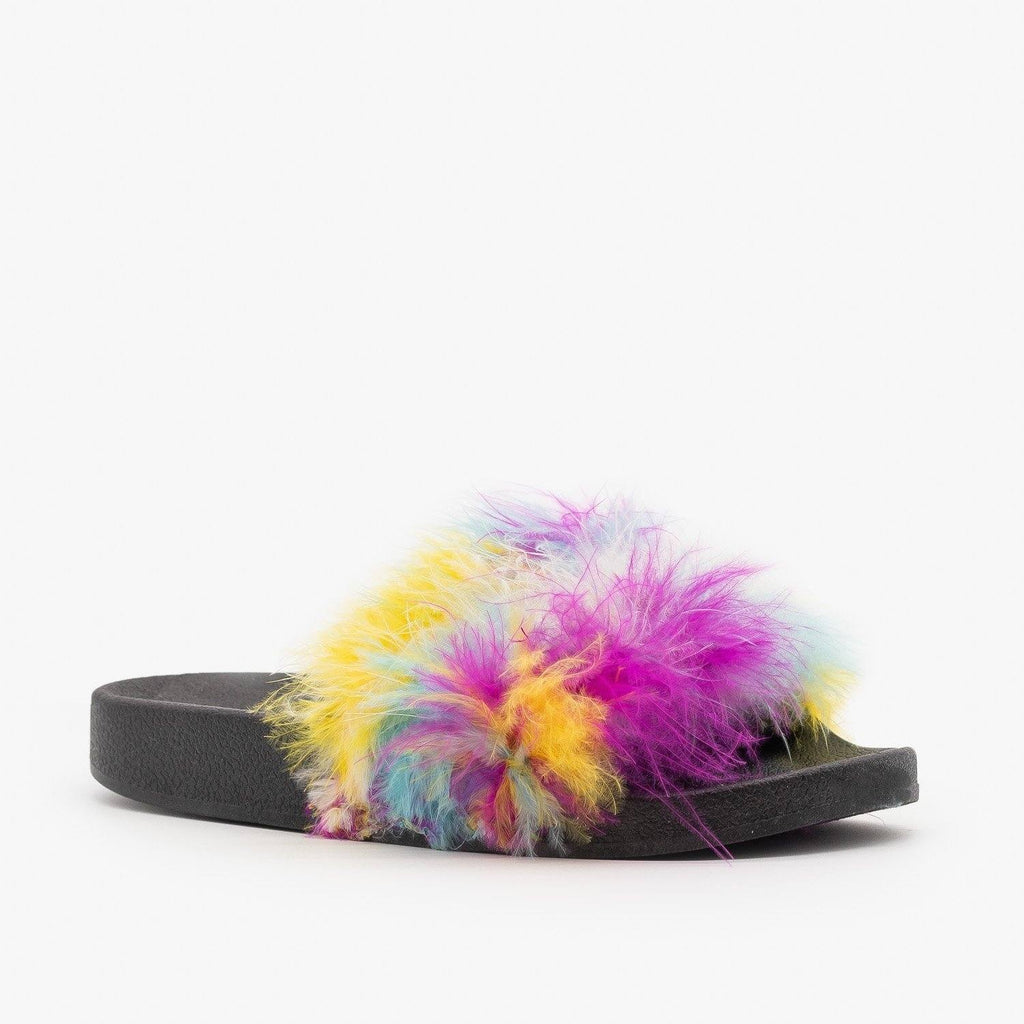 Womens Bright Feather Boa Slides - Refresh - Multi / 5