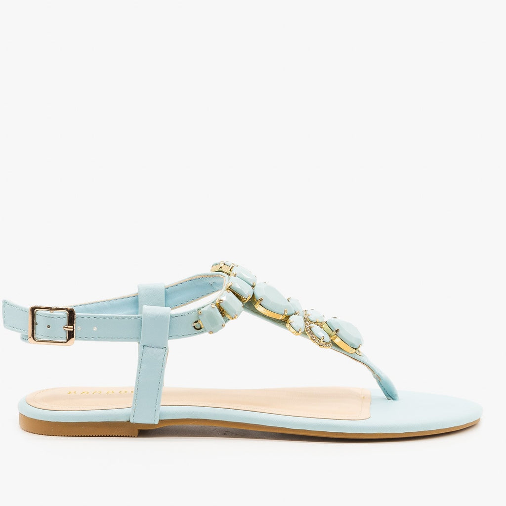 Womens Bright Pastel Gem Sandals - Bamboo Shoes - Pale Blue / 5
