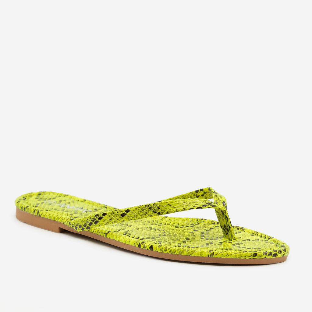 Women's Bright Snake Print Flip Flop Sandals - Anna Shoes - Yellow / 5