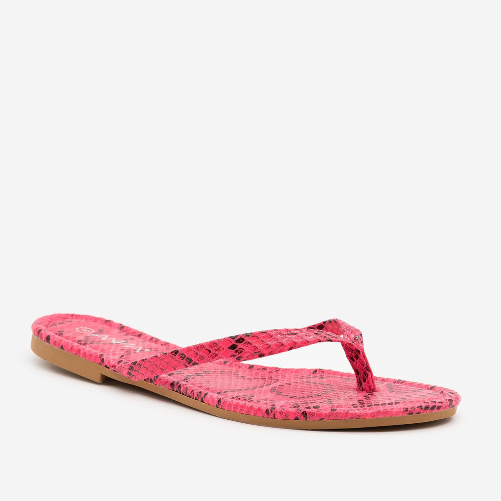 Women's Bright Snake Print Flip Flop Sandals - Anna Shoes - Pink / 5