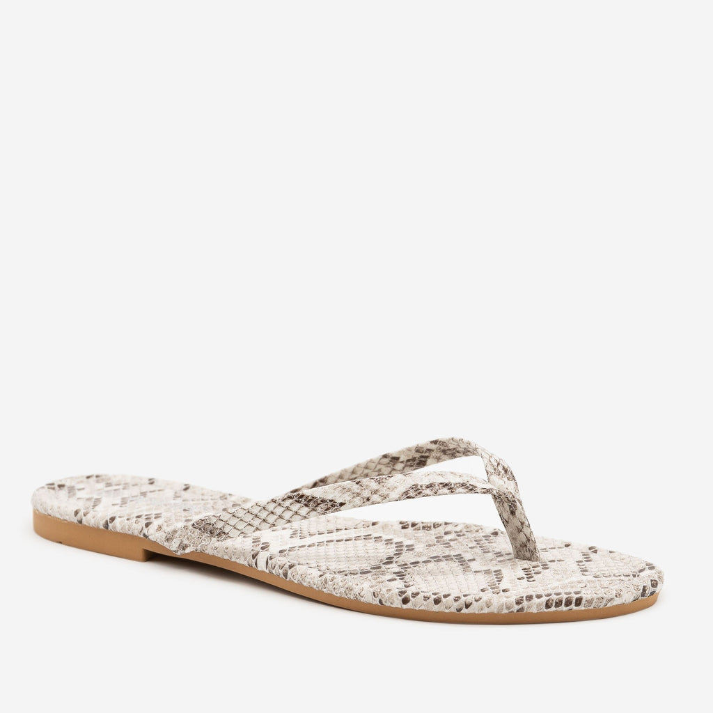 Women's Bright Snake Print Flip Flop Sandals - Anna Shoes - Beige / 5