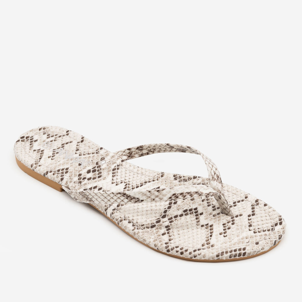 Women's Bright Snake Print Flip Flop Sandals - Anna Shoes