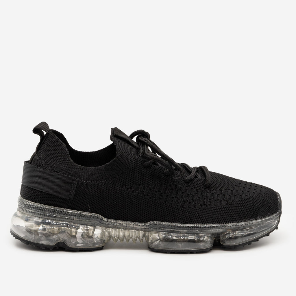 Women's Bubble Sole Sneakers - La Sheelah Shoes - Black Clear / 5