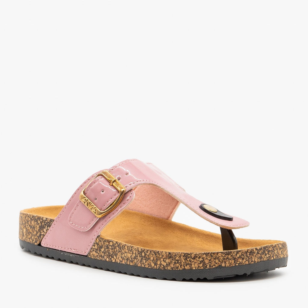Womens Bubblegum Pink Buckled Cork Slides - Anna Shoes