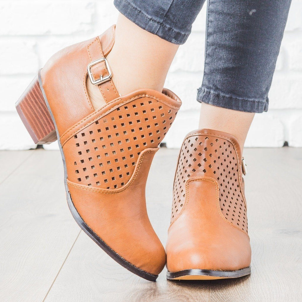 Womens Buckle and Diamond Bootie - Chase & Chloe