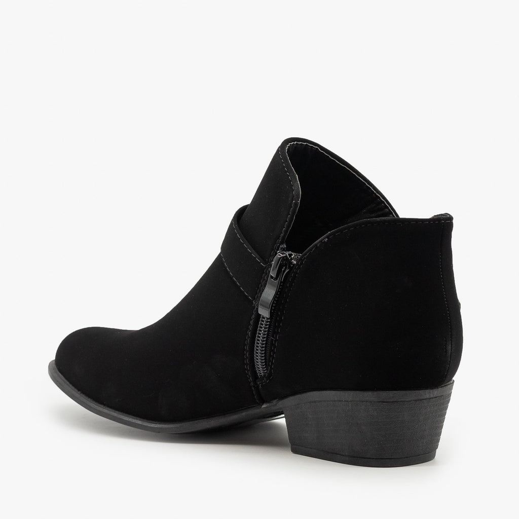 Womens Buckle Ankle Booties - Top Moda