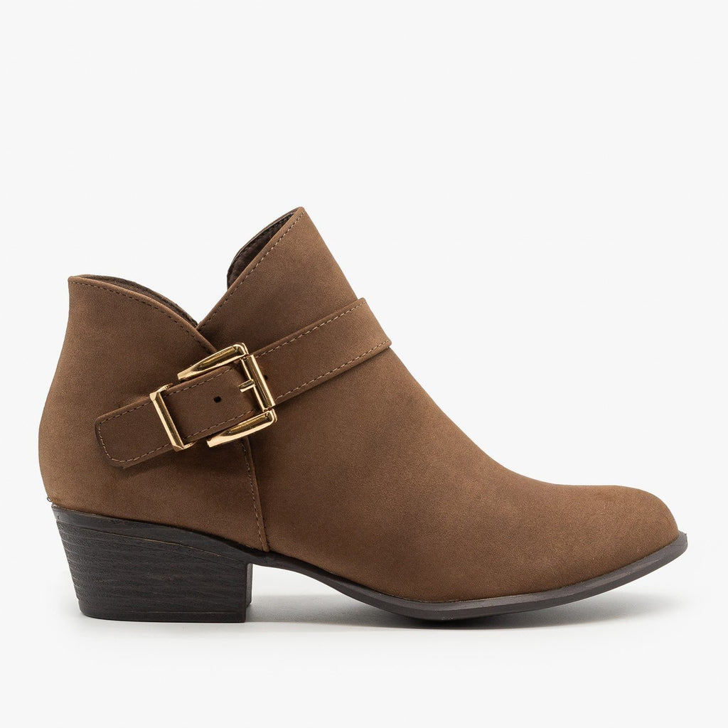 Womens Buckle Ankle Booties - Top Moda - Brown / 5
