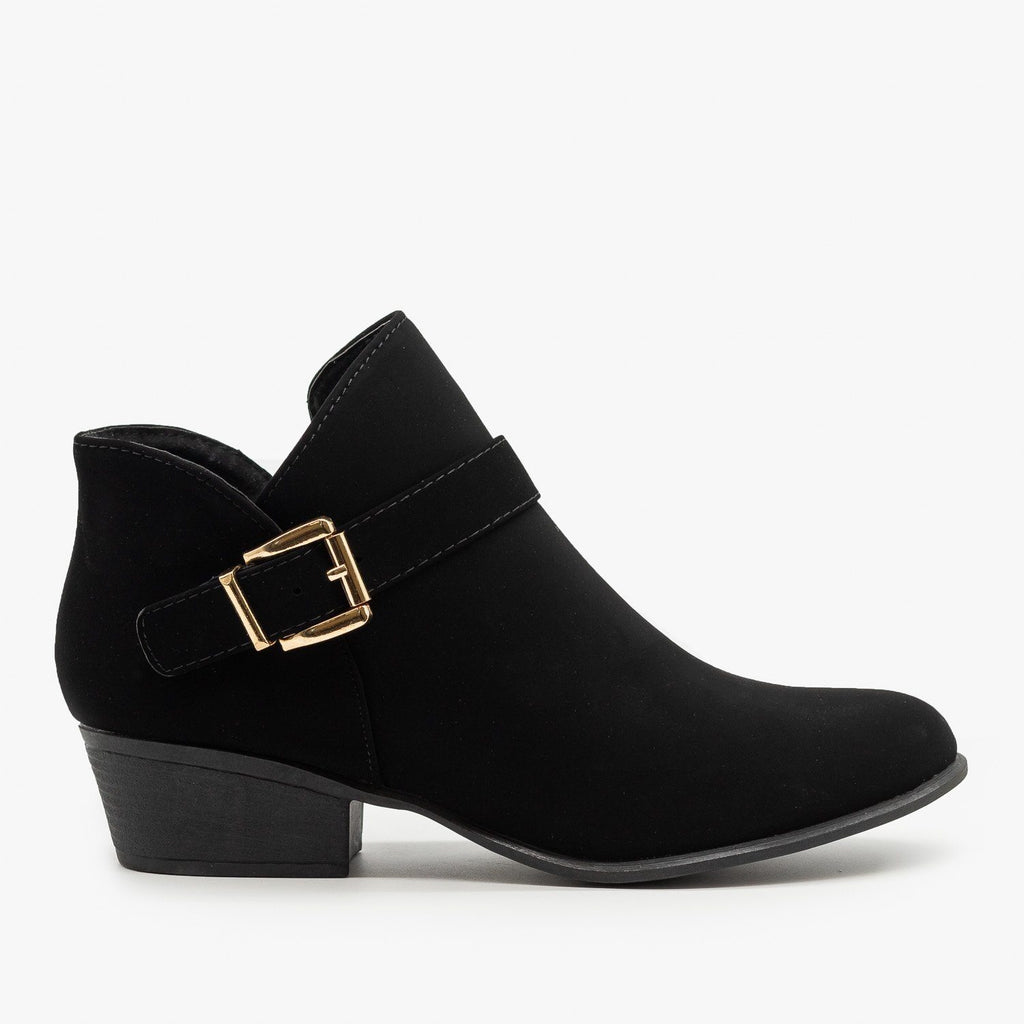 Womens Buckle Ankle Booties - Top Moda - Black / 5
