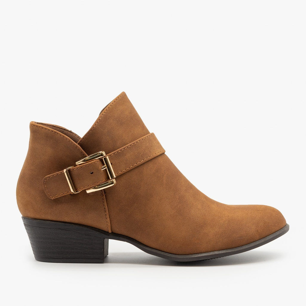 Womens Buckle Ankle Booties - Top Moda - Tan / 5