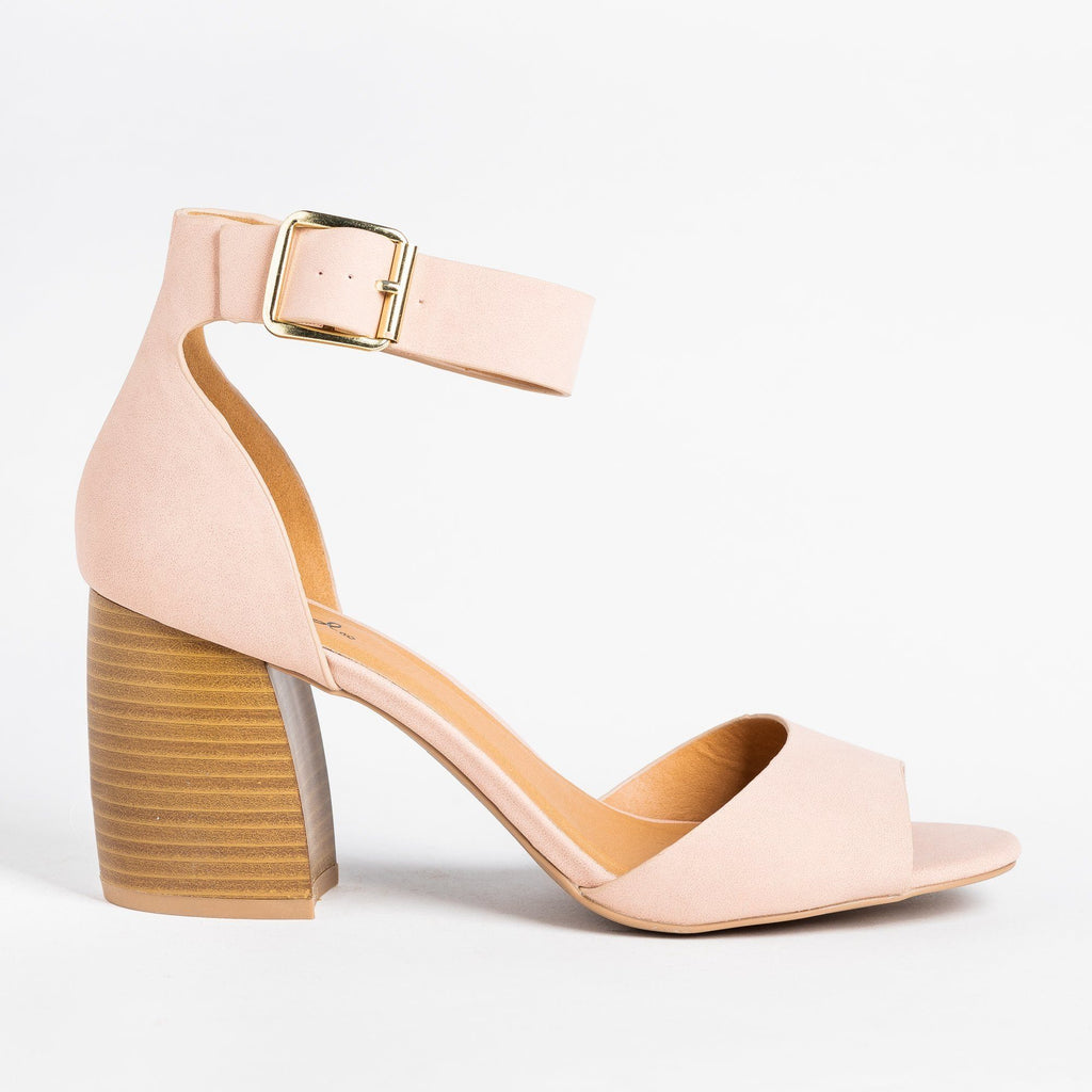 Womens Buckle Ankle Strap Chunky Heels - Qupid Shoes - Blush / 5