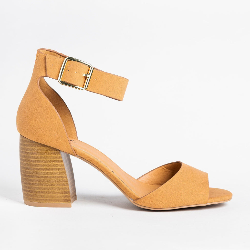 Womens Buckle Ankle Strap Chunky Heels - Qupid Shoes - Camel / 5