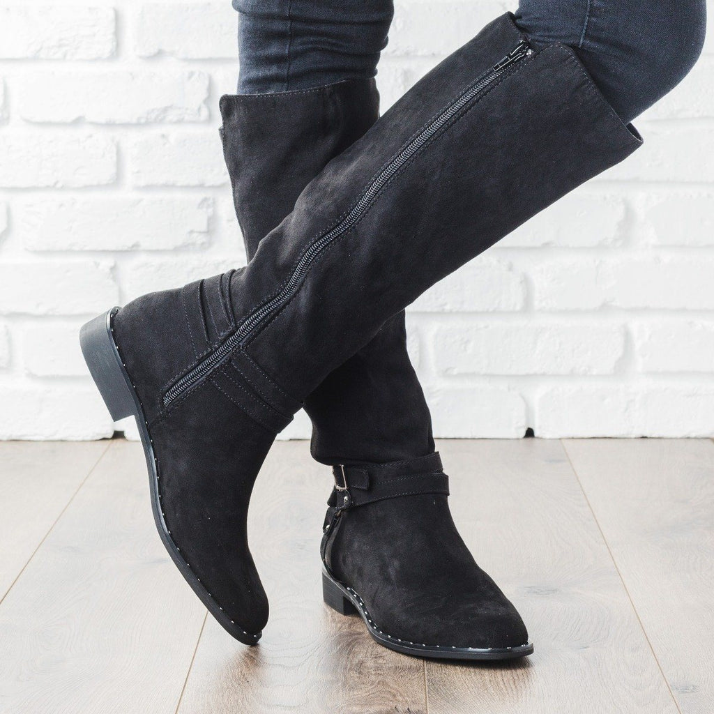 Womens Buckle Knee-High Rider Boots - Bamboo Shoes
