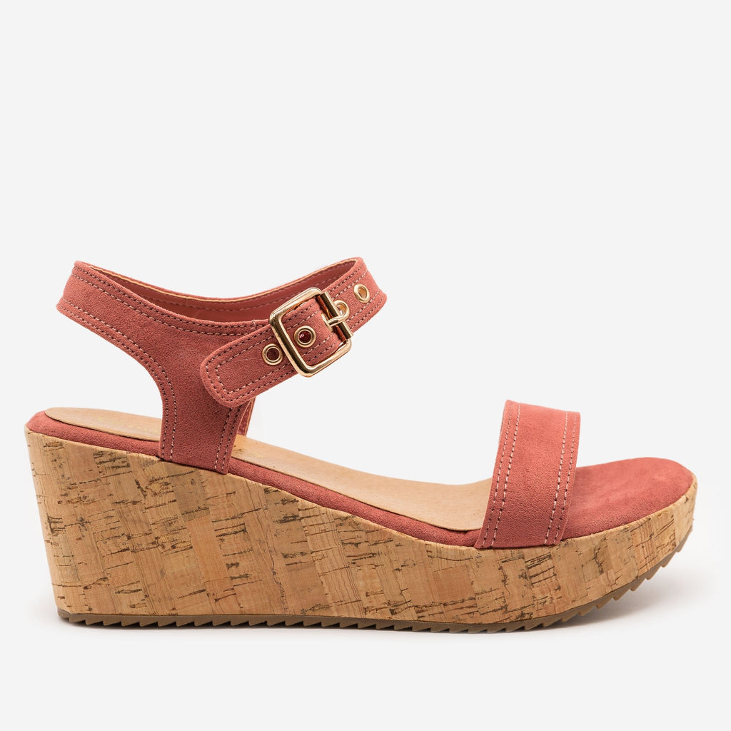 Women's Buckle-Up Comfy Insole Cork Wedges - Comfy Soles - Dark Mauve / 5