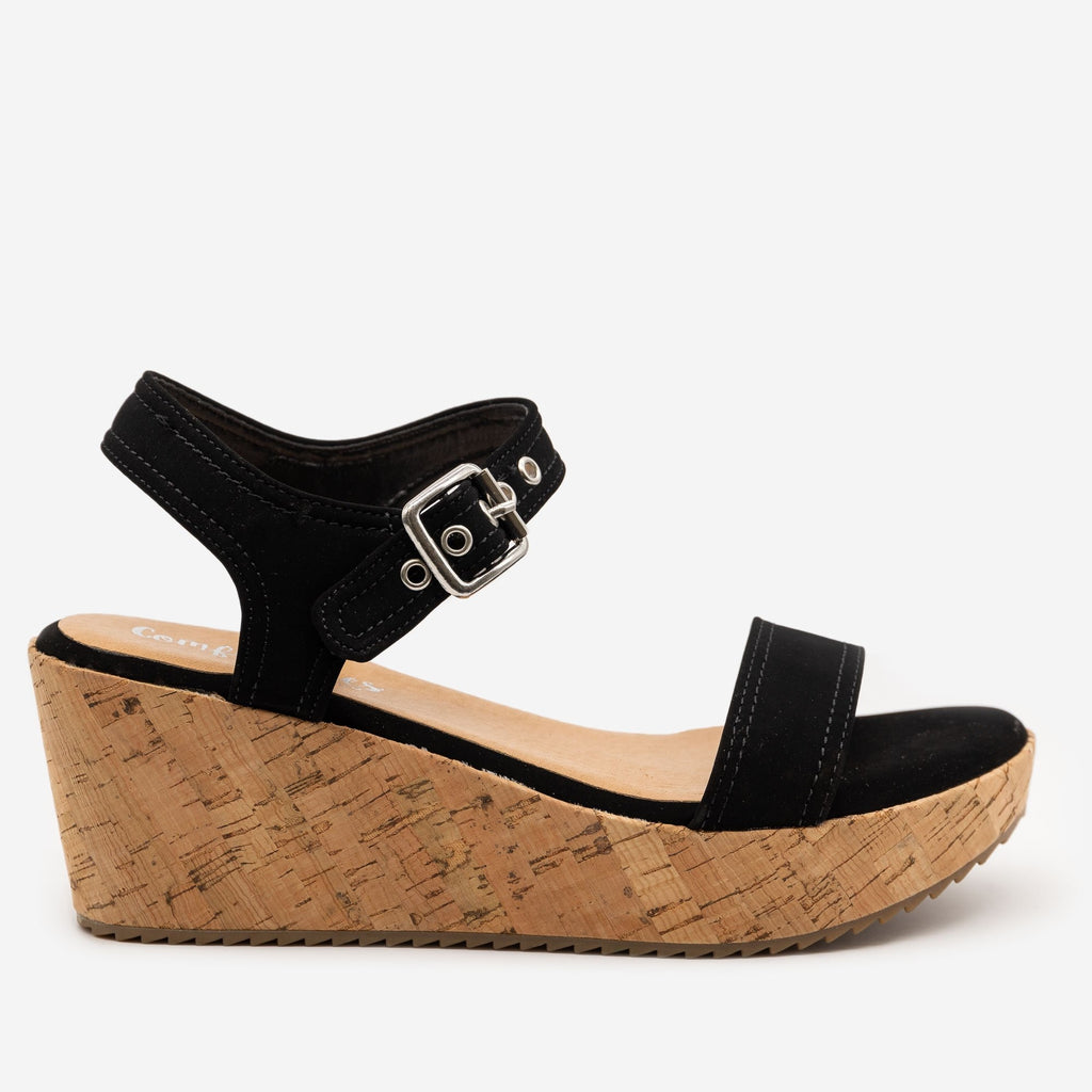 Women's Buckle-Up Comfy Insole Cork Wedges - Comfy Soles - Black / 5
