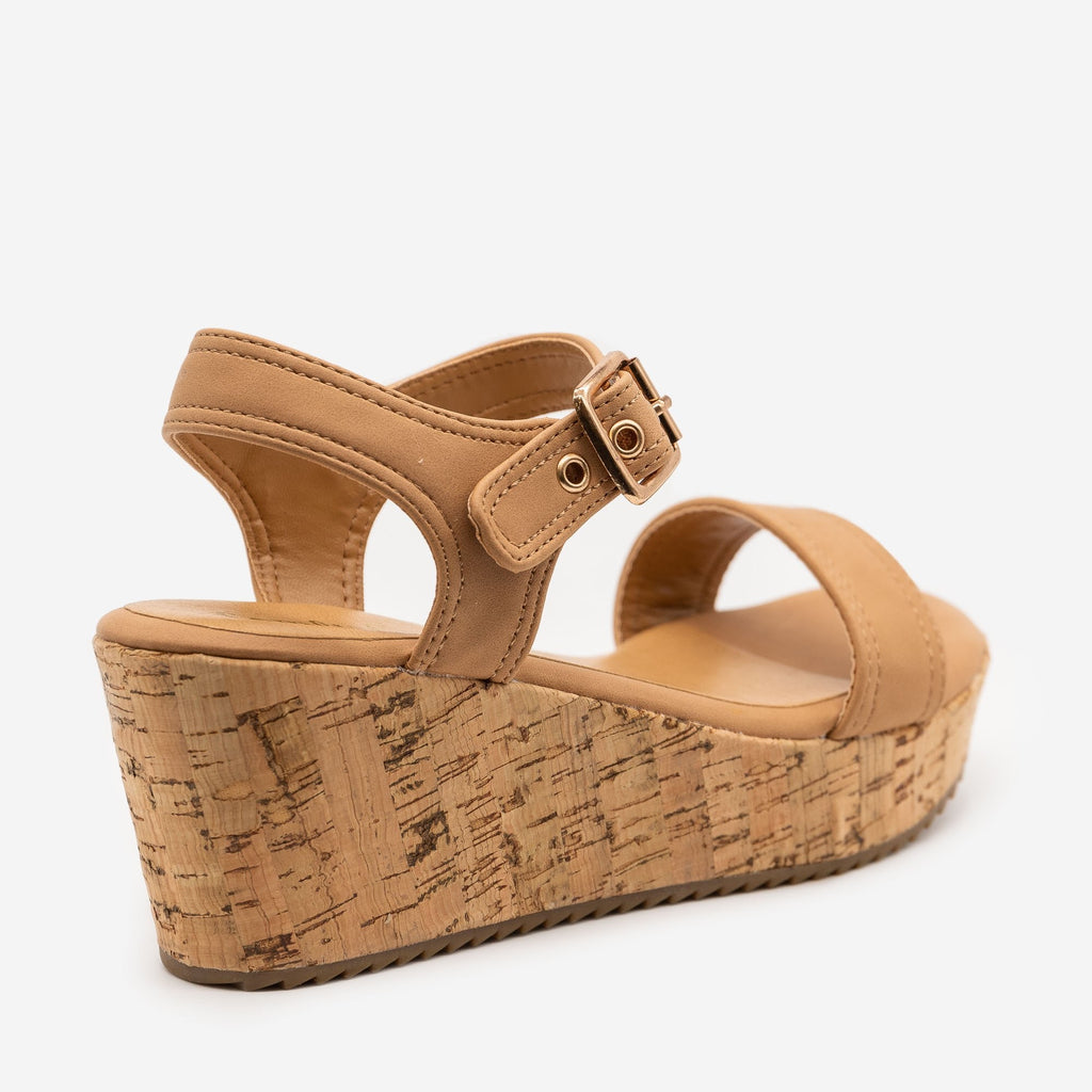 Women's Buckle-Up Comfy Insole Cork Wedges - Comfy Soles