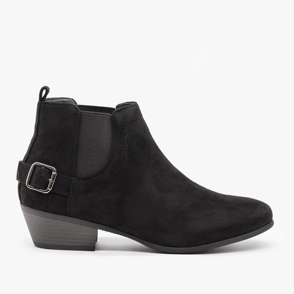 Womens Buckled Ankle Booties - Refresh - Black / 5
