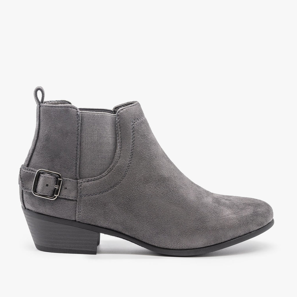 Womens Buckled Ankle Booties - Refresh - Charcoal / 5