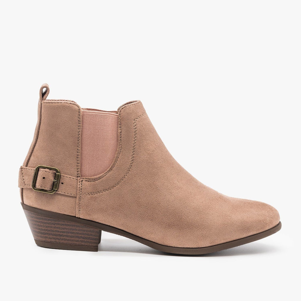 Womens Buckled Ankle Booties - Refresh - Mauve / 5