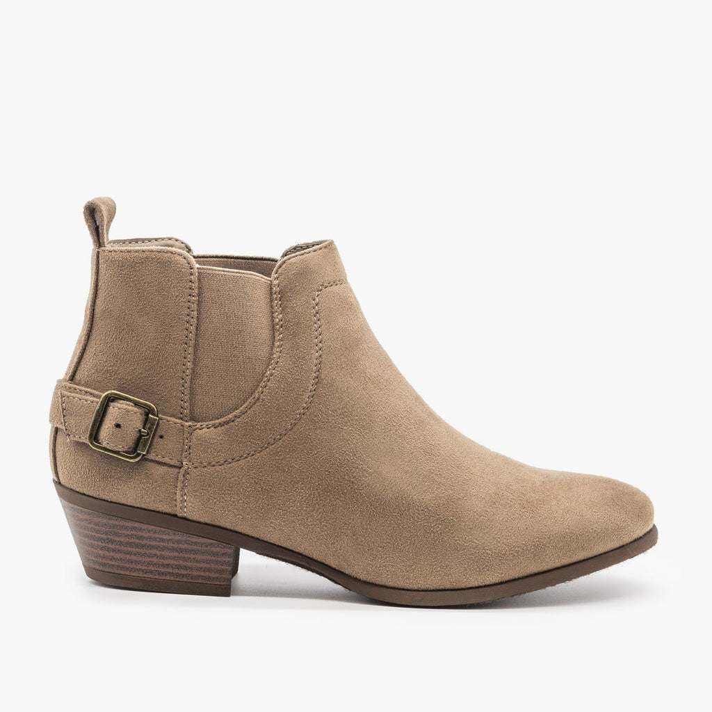 Womens Buckled Ankle Booties - Refresh - Mocha / 5