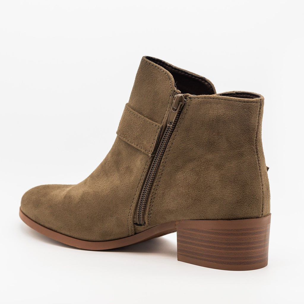 Womens Buckled Ankle Boots - Qupid Shoes