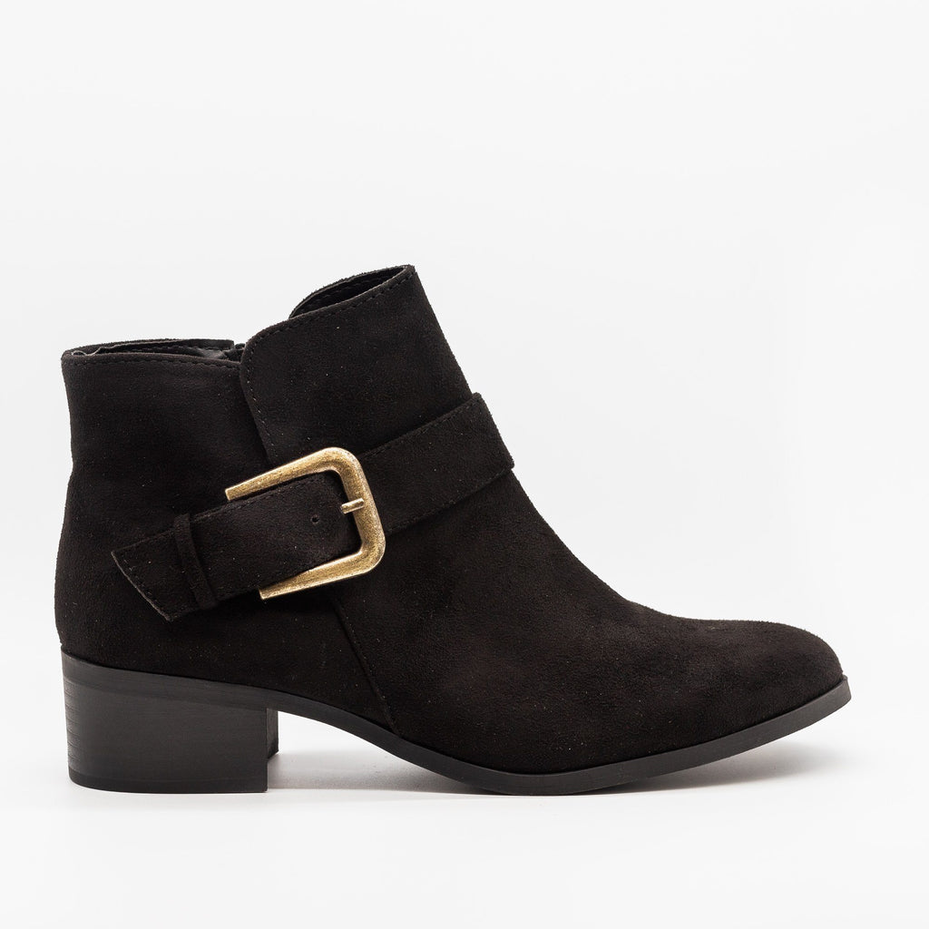 Womens Buckled Ankle Boots - Qupid Shoes - Black / 5
