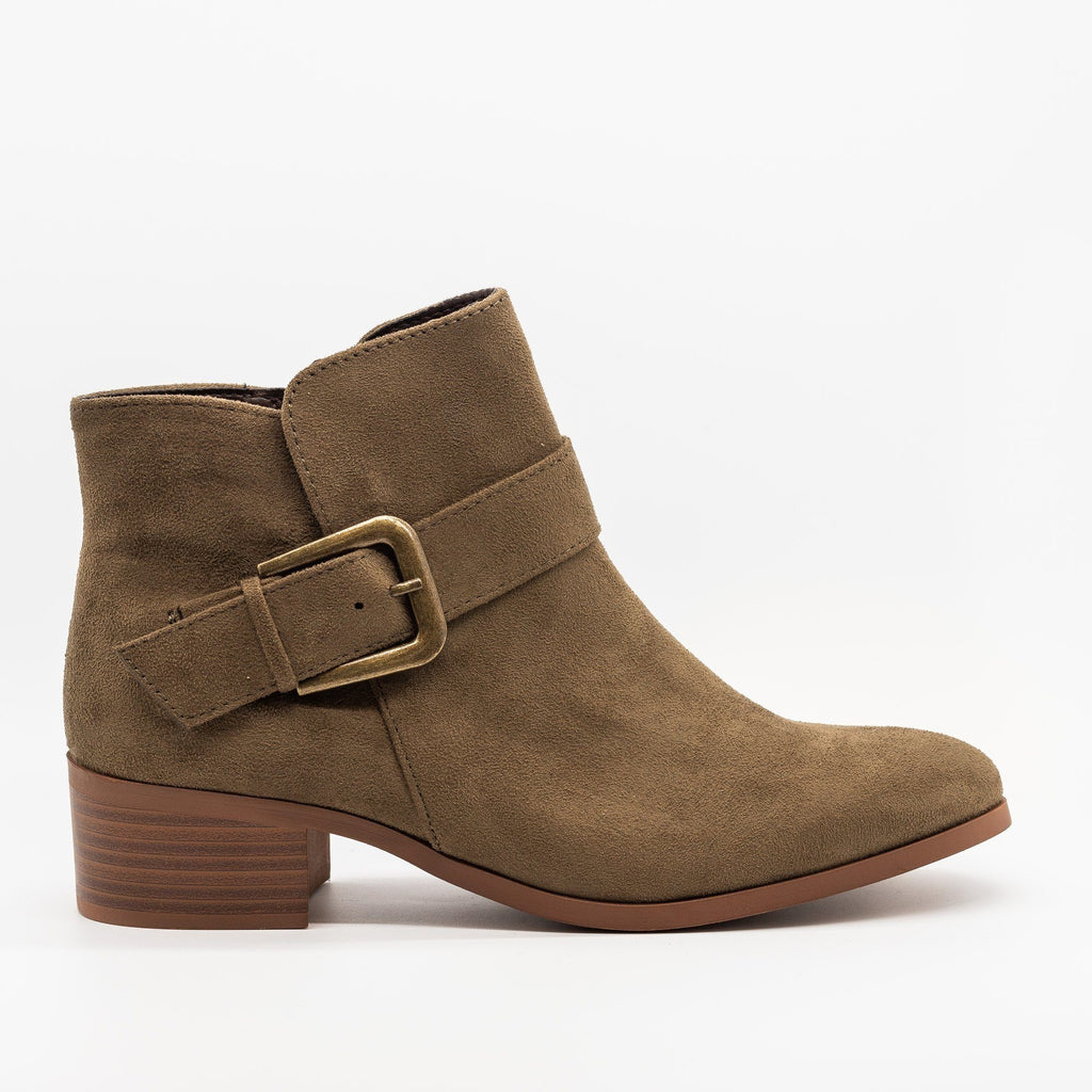Womens Buckled Ankle Boots - Qupid Shoes - Khaki / 5