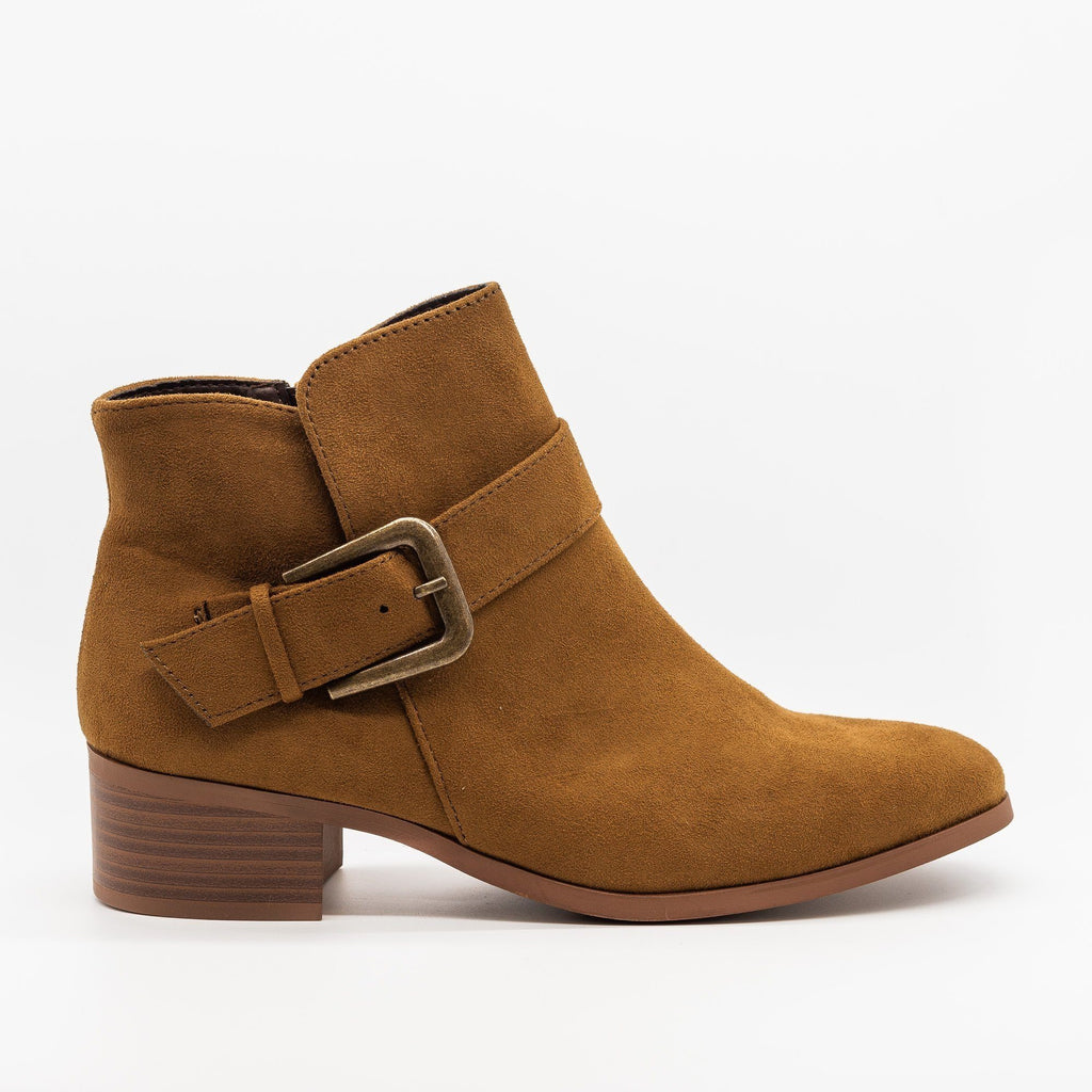 Womens Buckled Ankle Boots - Qupid Shoes - Coffee / 5