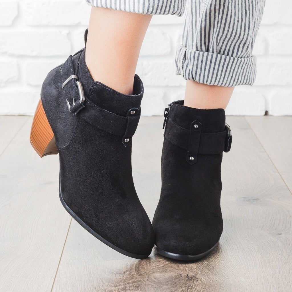Womens Buckled Chunky Heel Booties - Qupid Shoes - Black / 5.5