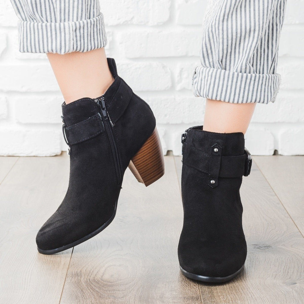 Womens Buckled Chunky Heel Booties - Qupid Shoes