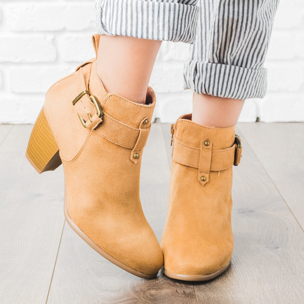 Womens Buckled Chunky Heel Booties - Qupid Shoes - Camel / 5