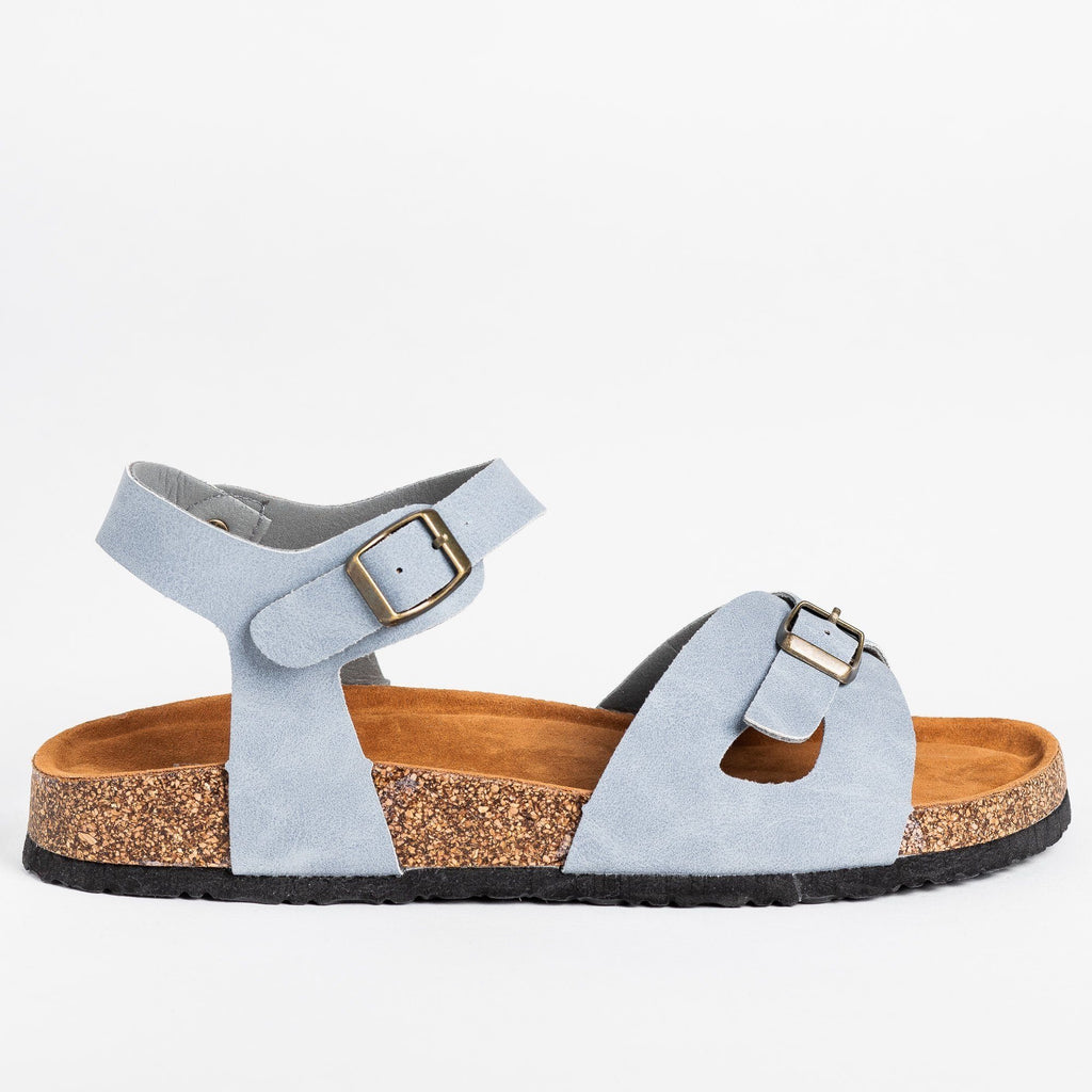 Womens Buckled Comfy Cork Sandals - Refresh - Blue / 5