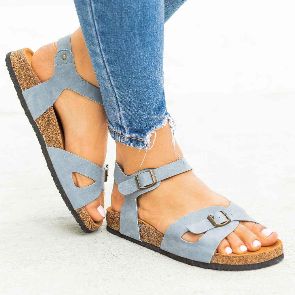 Womens Buckled Comfy Cork Sandals - Refresh