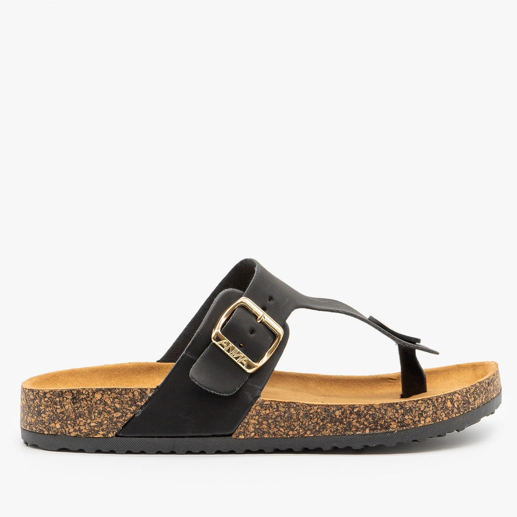 Womens Buckled Cork Sandals - Anna Shoes - Black / 5