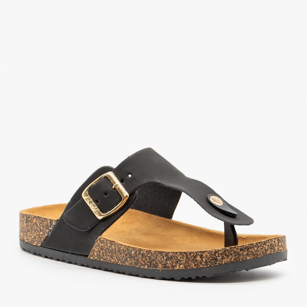 Womens Buckled Cork Sandals - Anna Shoes