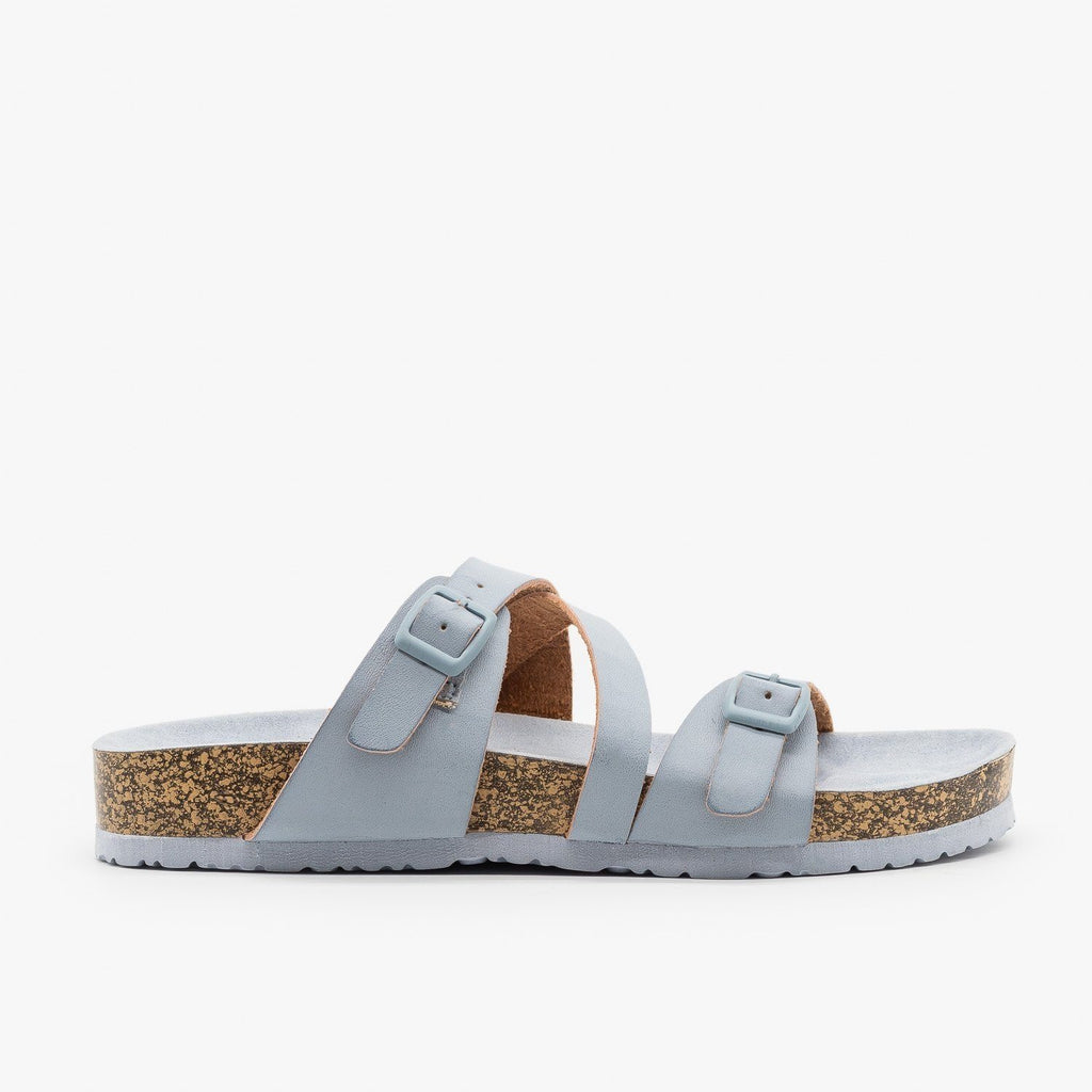 Womens Buckled Criss-Cross Slides - Qupid Shoes - Ash Blue / 5
